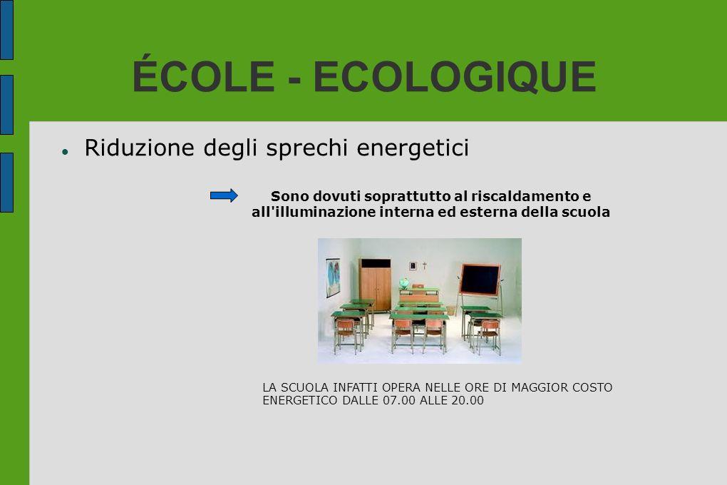 ÉCOLE - ECOLOGIQUE Riduzione degli sprechi energetici