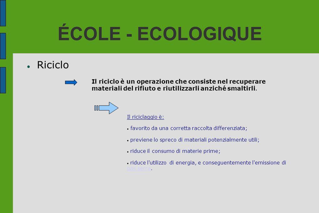 ÉCOLE - ECOLOGIQUE Riciclo