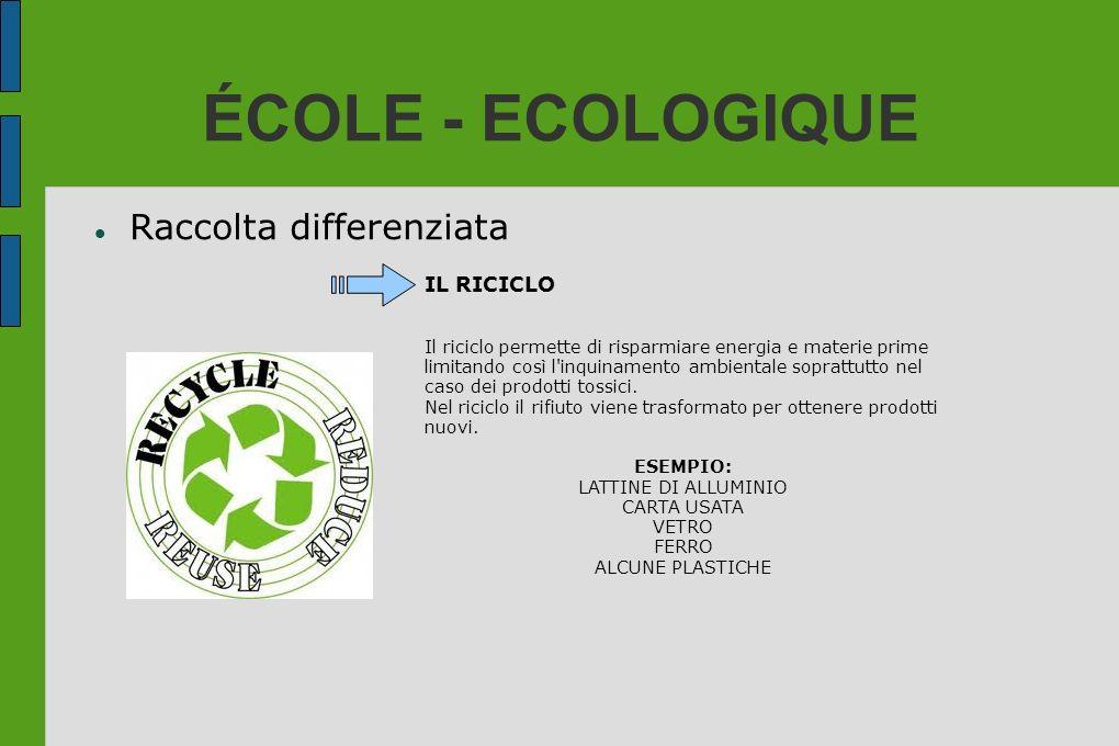 ÉCOLE - ECOLOGIQUE Raccolta differenziata IL RICICLO