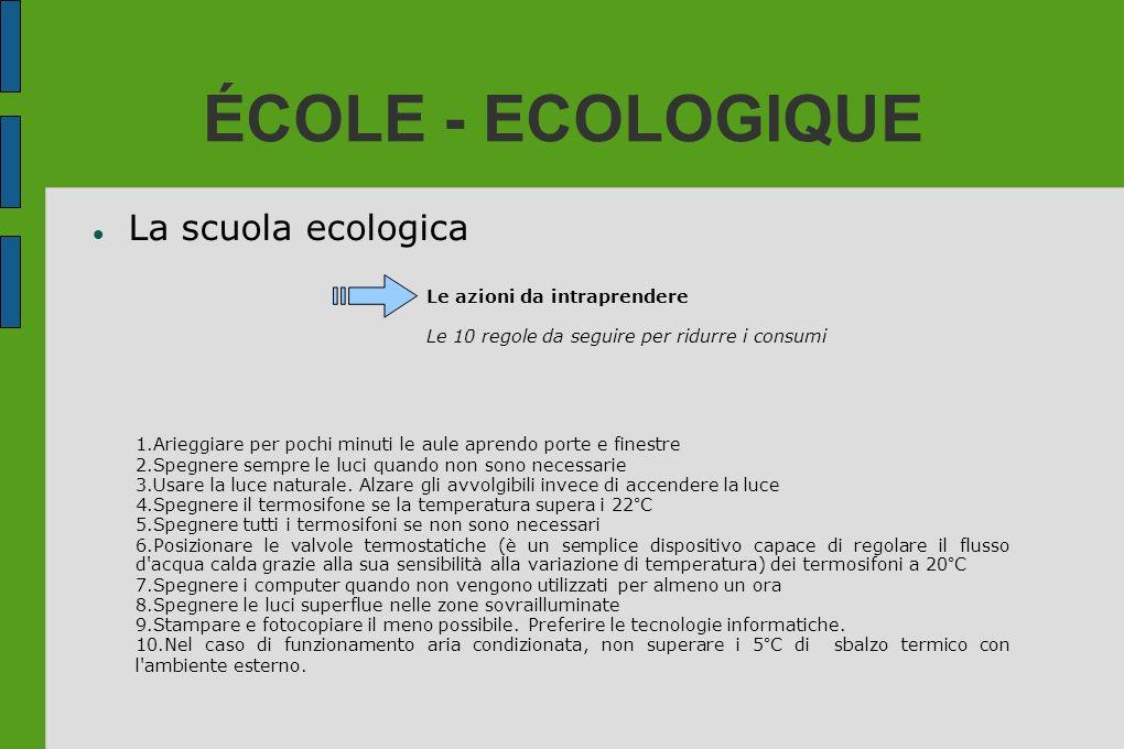 ÉCOLE - ECOLOGIQUE La scuola ecologica Le azioni da intraprendere
