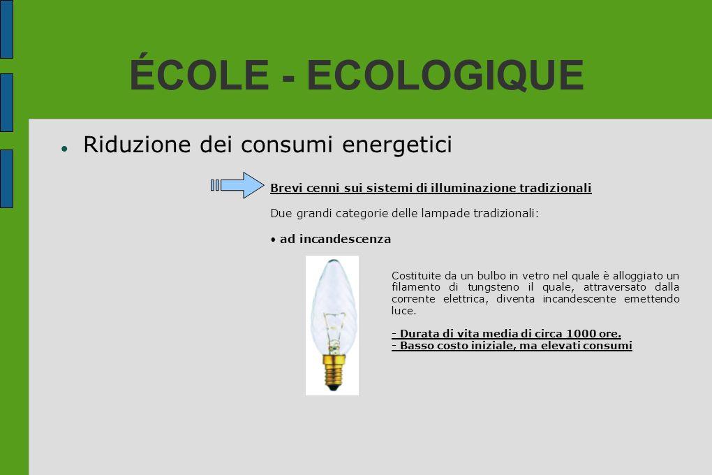 ÉCOLE - ECOLOGIQUE Riduzione dei consumi energetici