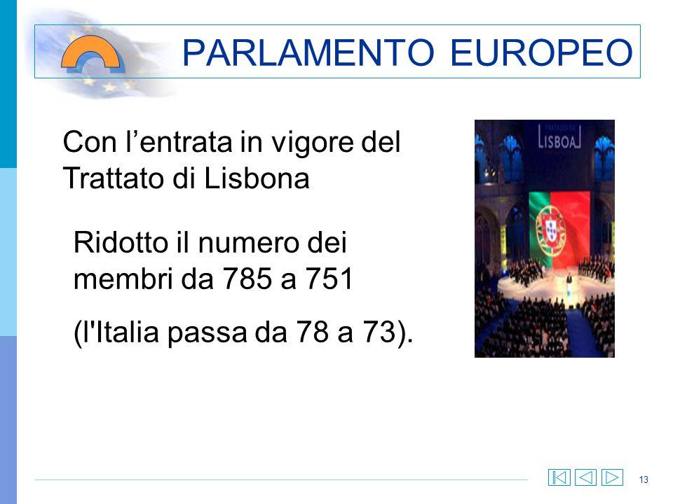 PARLAMENTO EUROPEO Con l'entrata in vigore del Trattato di Lisbona