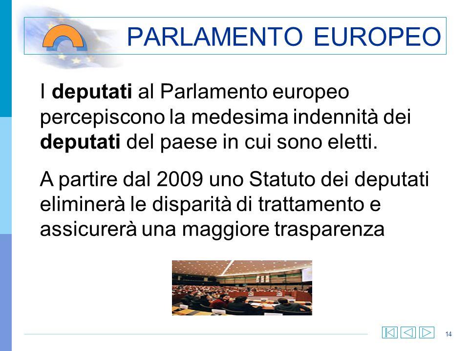 PARLAMENTO EUROPEO I deputati al Parlamento europeo percepiscono la medesima indennità dei deputati del paese in cui sono eletti.
