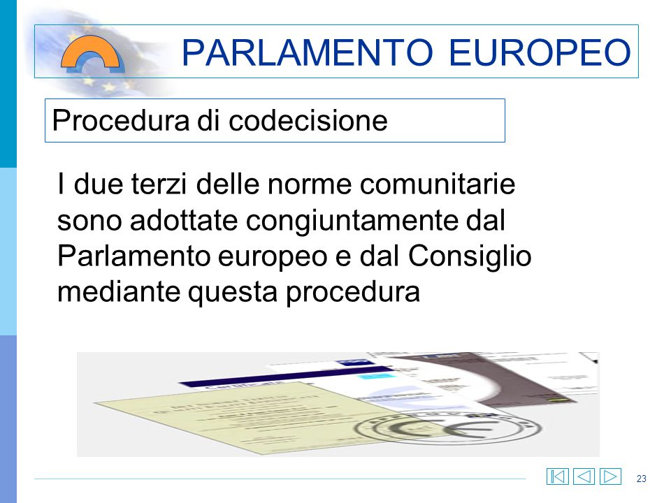 PARLAMENTO EUROPEO Procedura di codecisione