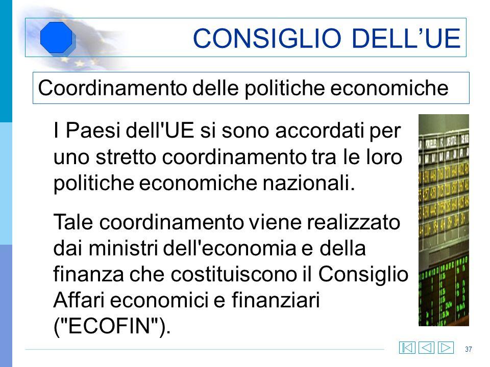 CONSIGLIO DELL'UE Coordinamento delle politiche economiche