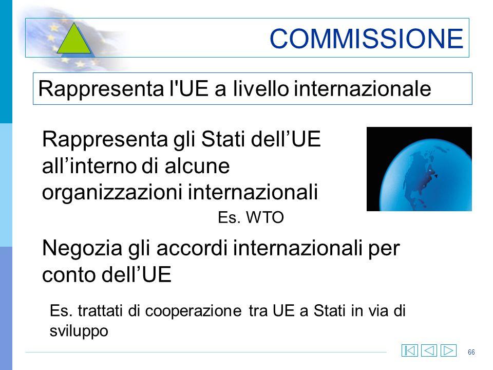 COMMISSIONE Rappresenta l UE a livello internazionale