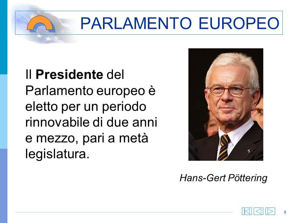 PARLAMENTO EUROPEO Il Presidente del Parlamento europeo è eletto per un periodo rinnovabile di due anni e mezzo, pari a metà legislatura.