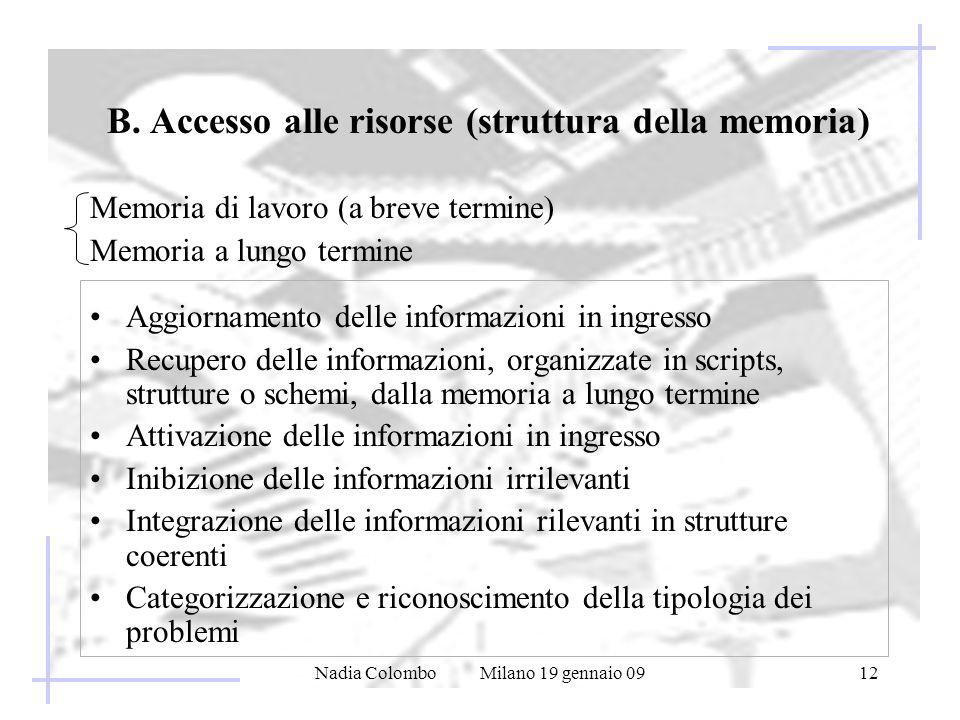B. Accesso alle risorse (struttura della memoria)