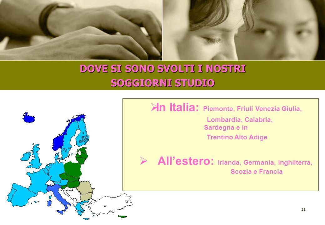 In Italia: Piemonte, Friuli Venezia Giulia,