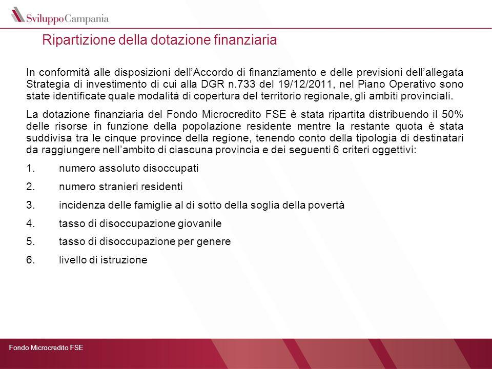 Ripartizione della dotazione finanziaria