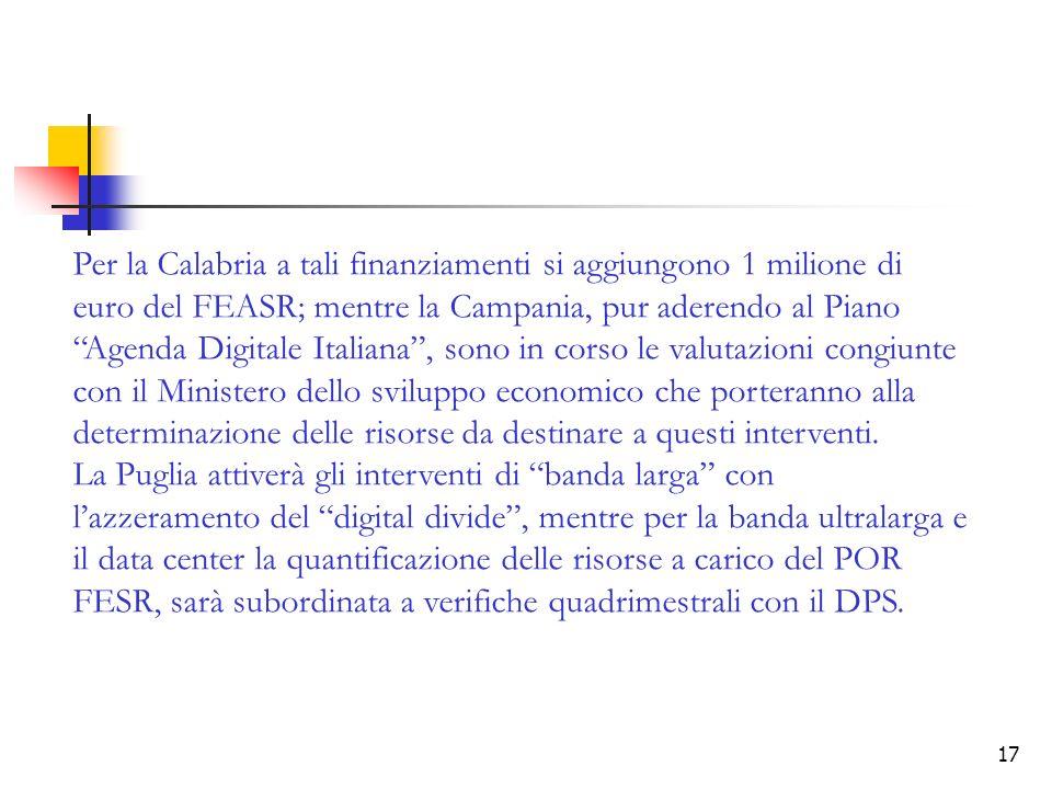 Per la Calabria a tali finanziamenti si aggiungono 1 milione di euro del FEASR; mentre la Campania, pur aderendo al Piano Agenda Digitale Italiana , sono in corso le valutazioni congiunte con il Ministero dello sviluppo economico che porteranno alla determinazione delle risorse da destinare a questi interventi.