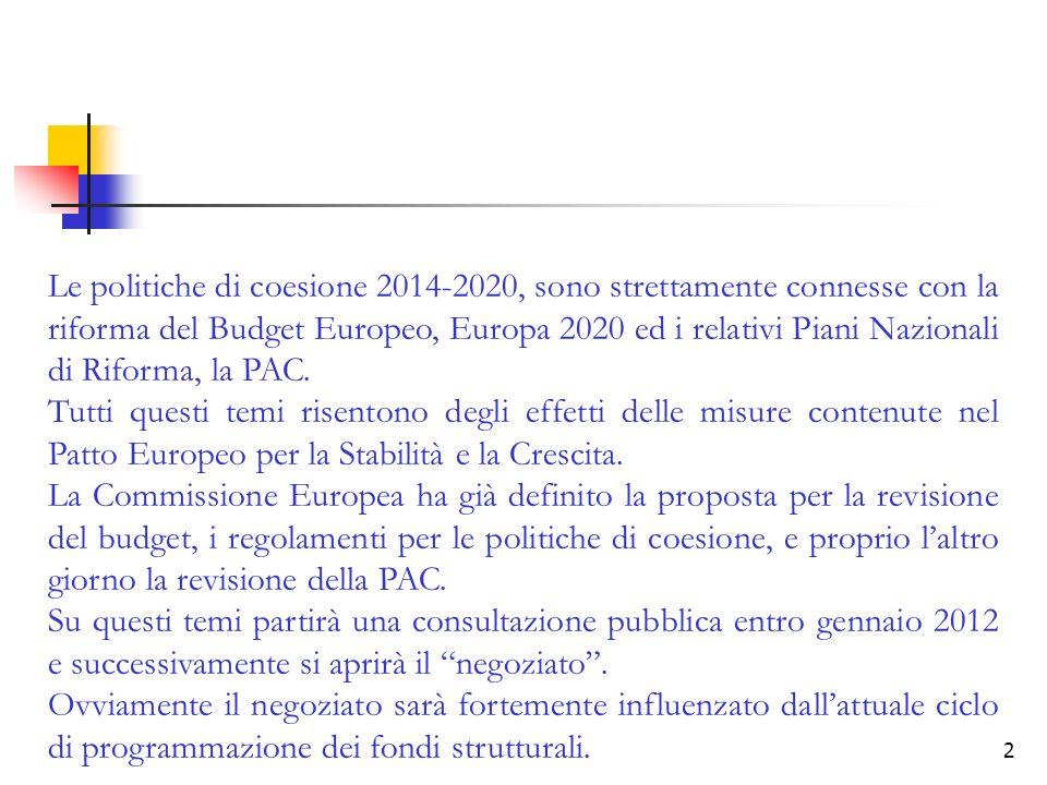 Le politiche di coesione 2014-2020, sono strettamente connesse con la riforma del Budget Europeo, Europa 2020 ed i relativi Piani Nazionali di Riforma, la PAC.