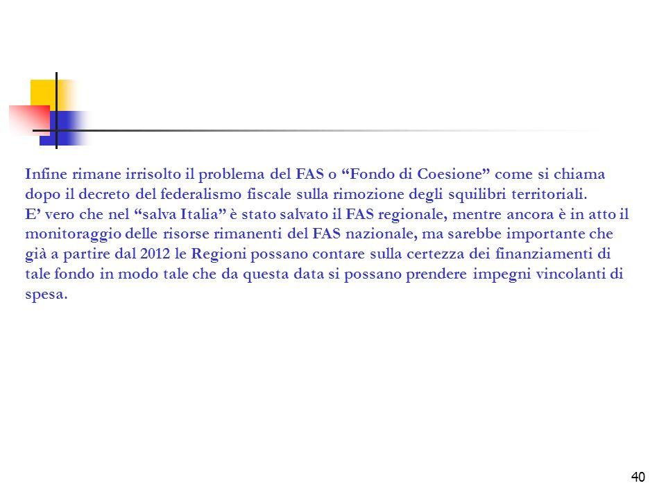 Infine rimane irrisolto il problema del FAS o Fondo di Coesione come si chiama dopo il decreto del federalismo fiscale sulla rimozione degli squilibri territoriali.