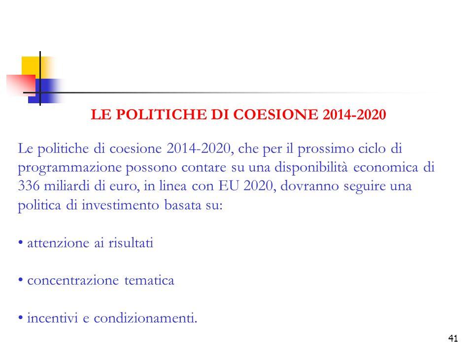 LE POLITICHE DI COESIONE 2014-2020