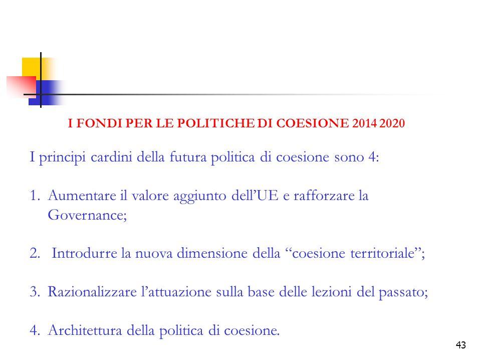 I FONDI PER LE POLITICHE DI COESIONE 2014 2020