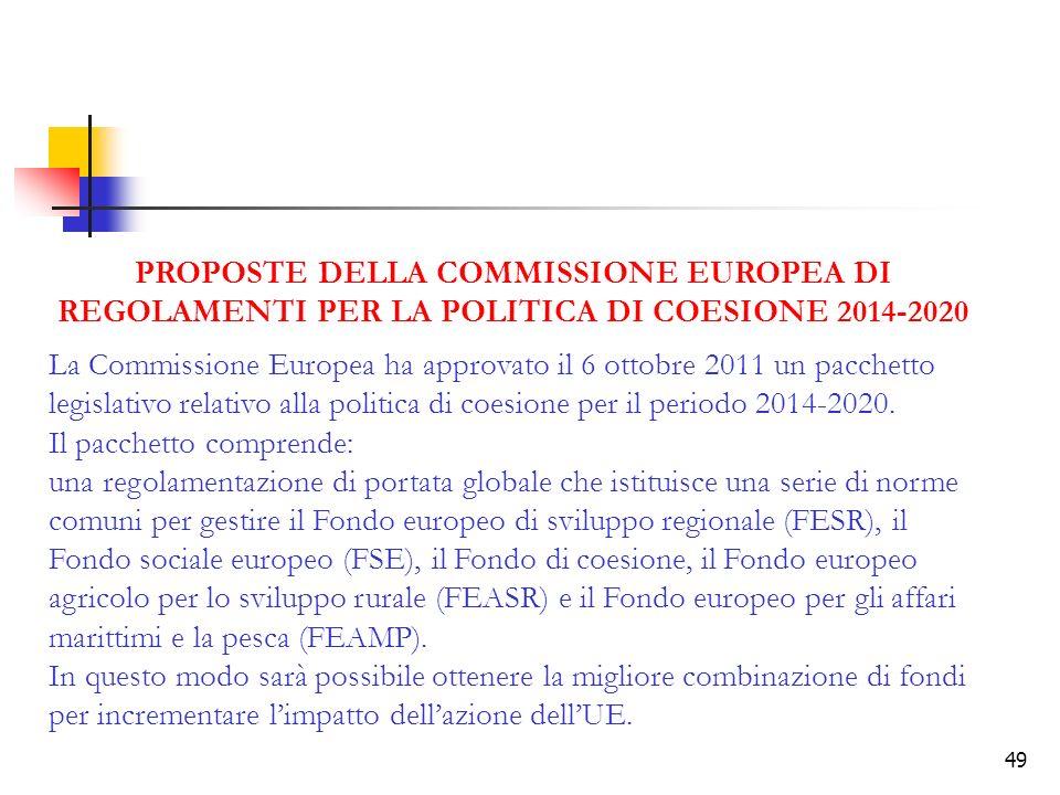 PROPOSTE DELLA COMMISSIONE EUROPEA DI REGOLAMENTI PER LA POLITICA DI COESIONE 2014-2020