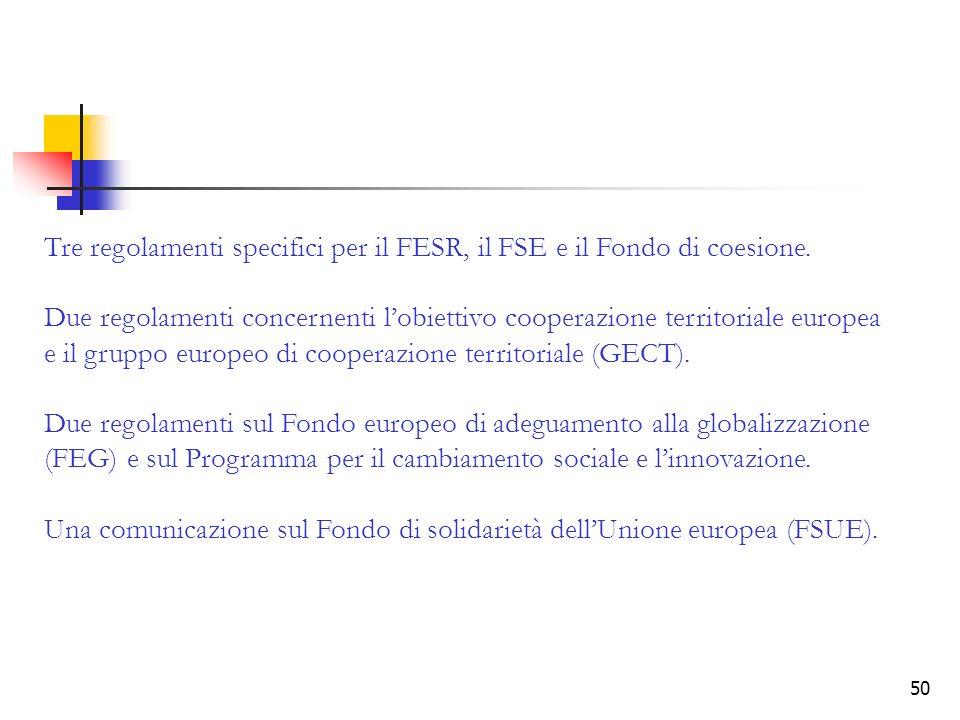 Tre regolamenti specifici per il FESR, il FSE e il Fondo di coesione.