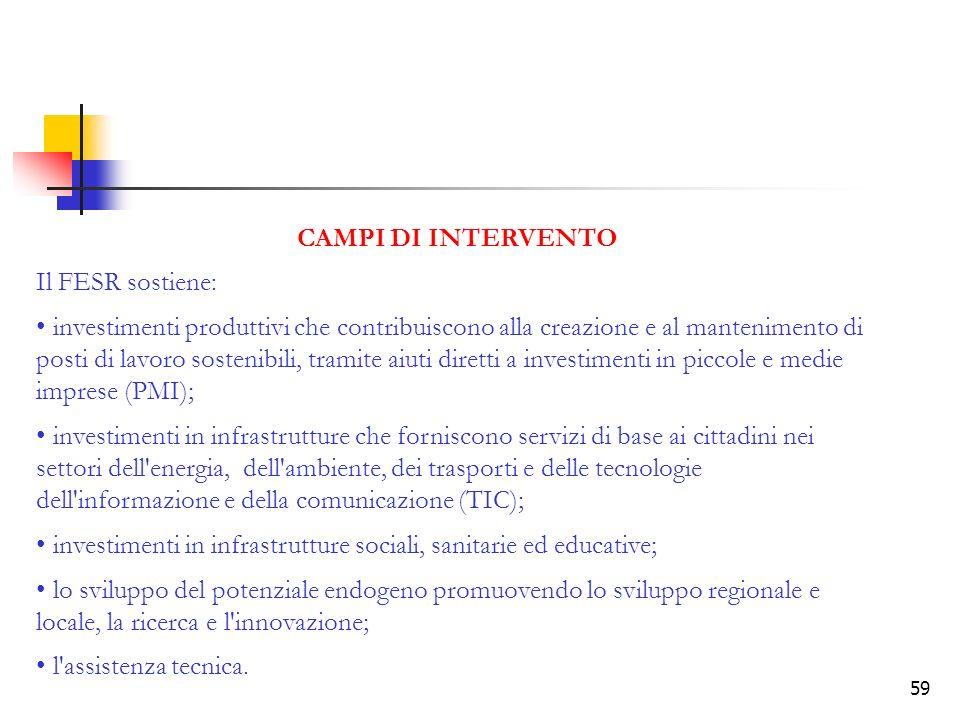 CAMPI DI INTERVENTO Il FESR sostiene: