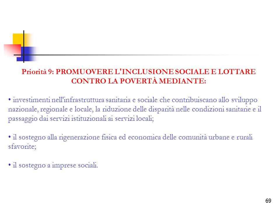 Priorità 9: PROMUOVERE L INCLUSIONE SOCIALE E LOTTARE CONTRO LA POVERTÀ MEDIANTE: