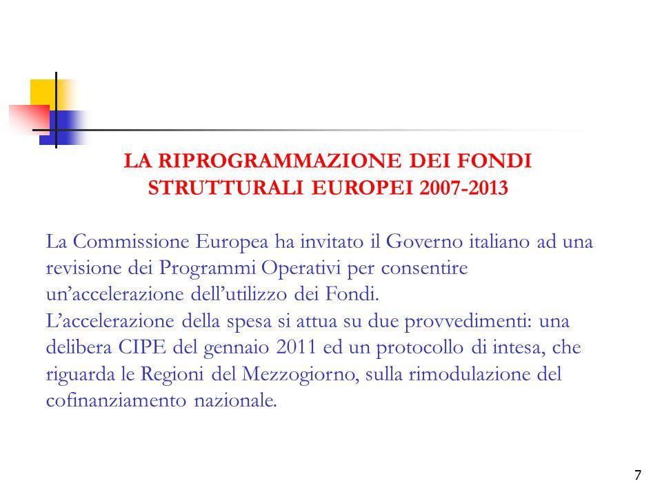 LA RIPROGRAMMAZIONE DEI FONDI STRUTTURALI EUROPEI 2007-2013