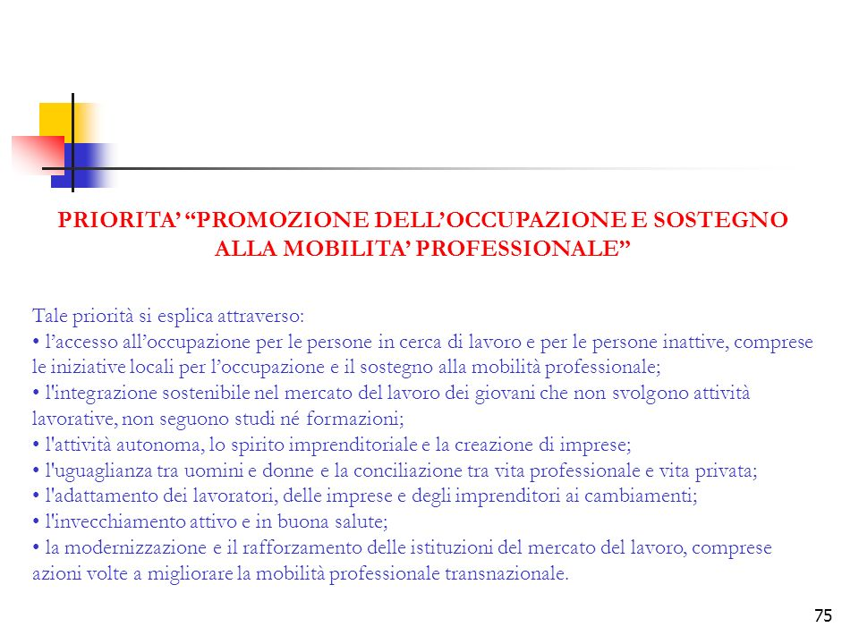 PRIORITA' PROMOZIONE DELL'OCCUPAZIONE E SOSTEGNO ALLA MOBILITA' PROFESSIONALE