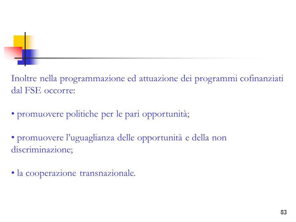 Inoltre nella programmazione ed attuazione dei programmi cofinanziati dal FSE occorre: