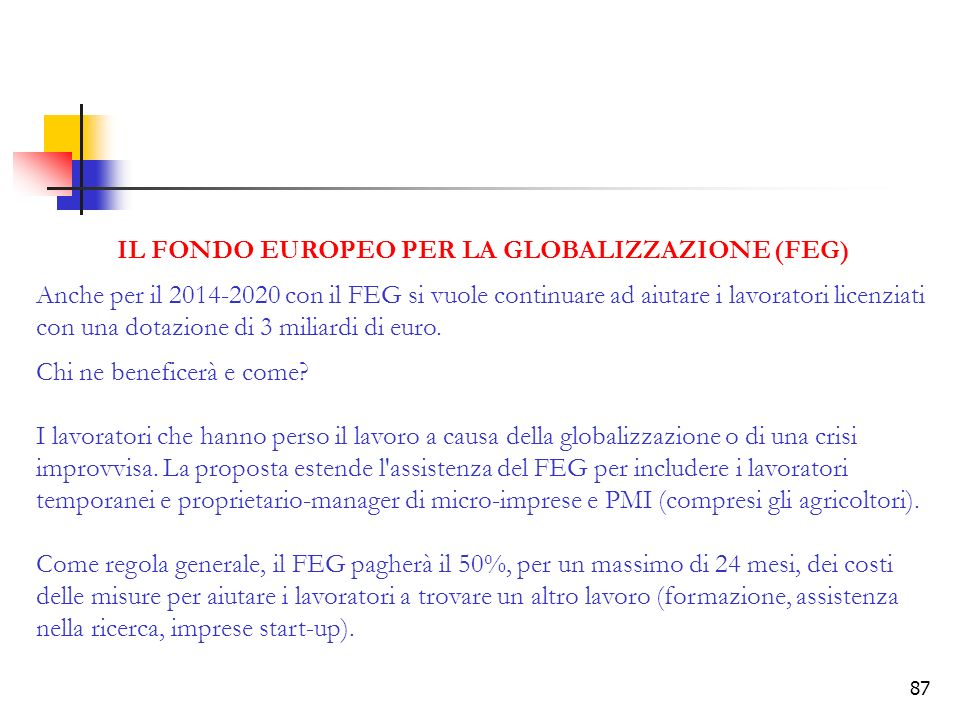 IL FONDO EUROPEO PER LA GLOBALIZZAZIONE (FEG)