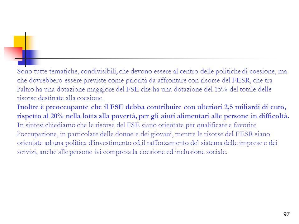 Sono tutte tematiche, condivisibili, che devono essere al centro delle politiche di coesione, ma che dovrebbero essere previste come priorità da affrontare con risorse del FESR, che tra l'altro ha una dotazione maggiore del FSE che ha una dotazione del 15% del totale delle risorse destinate alla coesione.