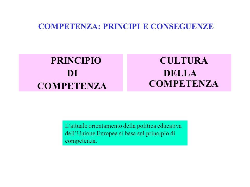 COMPETENZA: PRINCIPI E CONSEGUENZE