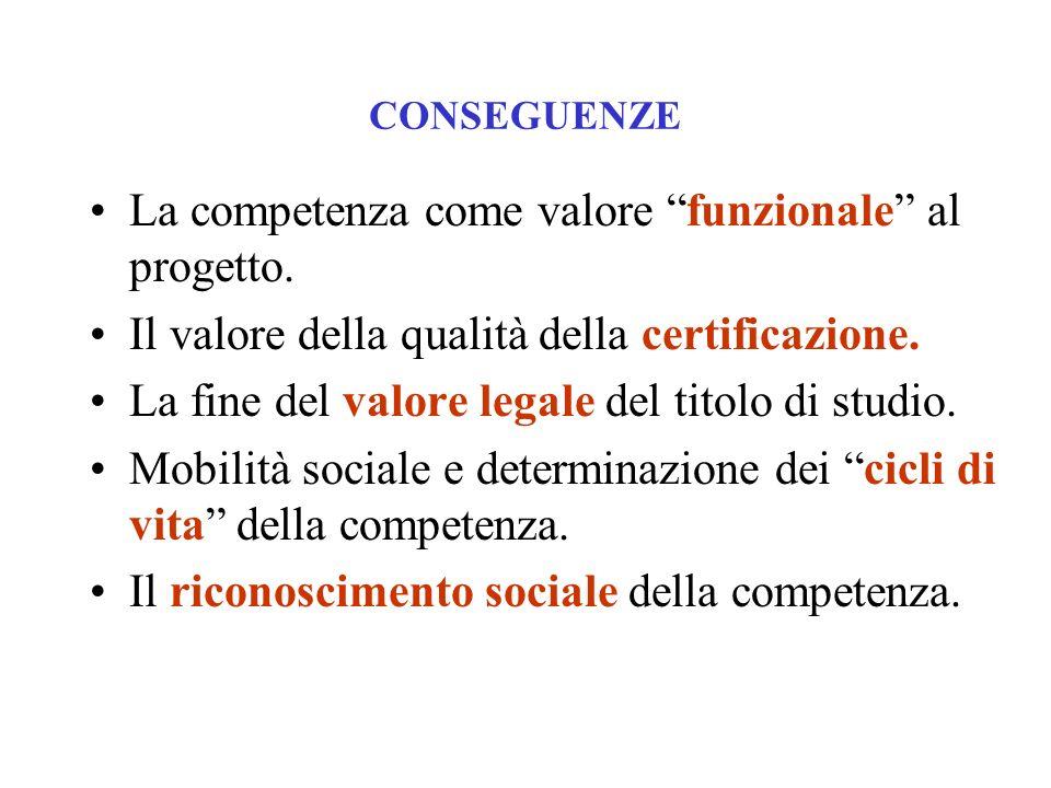 La competenza come valore funzionale al progetto.