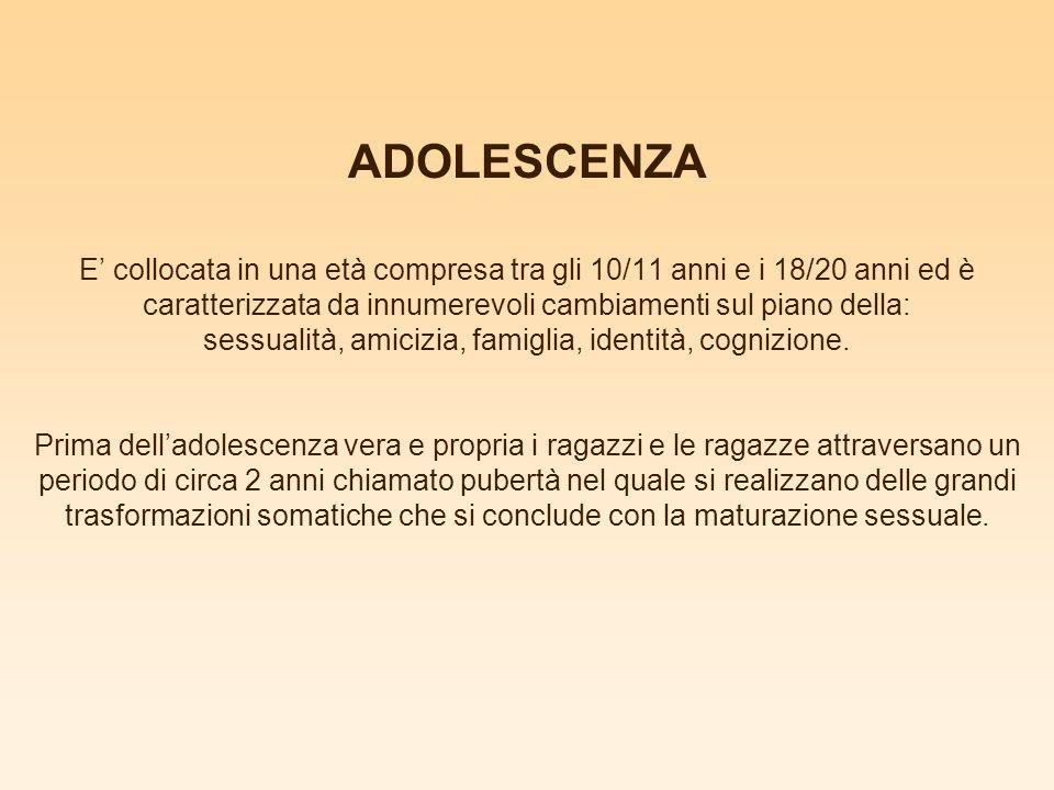 ADOLESCENZA E' collocata in una età compresa tra gli 10/11 anni e i 18/20 anni ed è caratterizzata da innumerevoli cambiamenti sul piano della: sessualità, amicizia, famiglia, identità, cognizione.