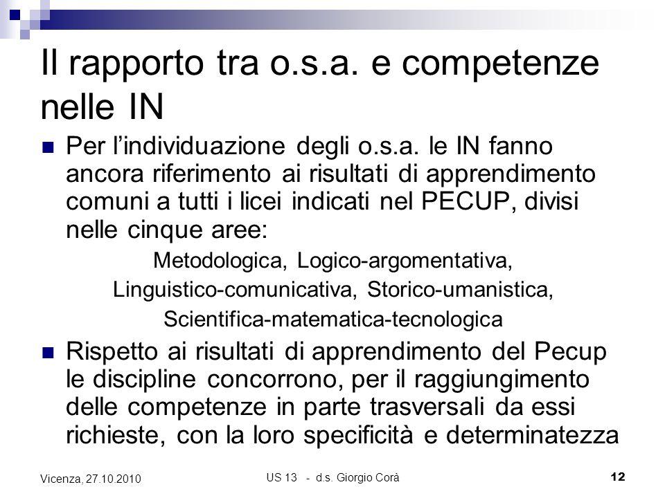 Il rapporto tra o.s.a. e competenze nelle IN