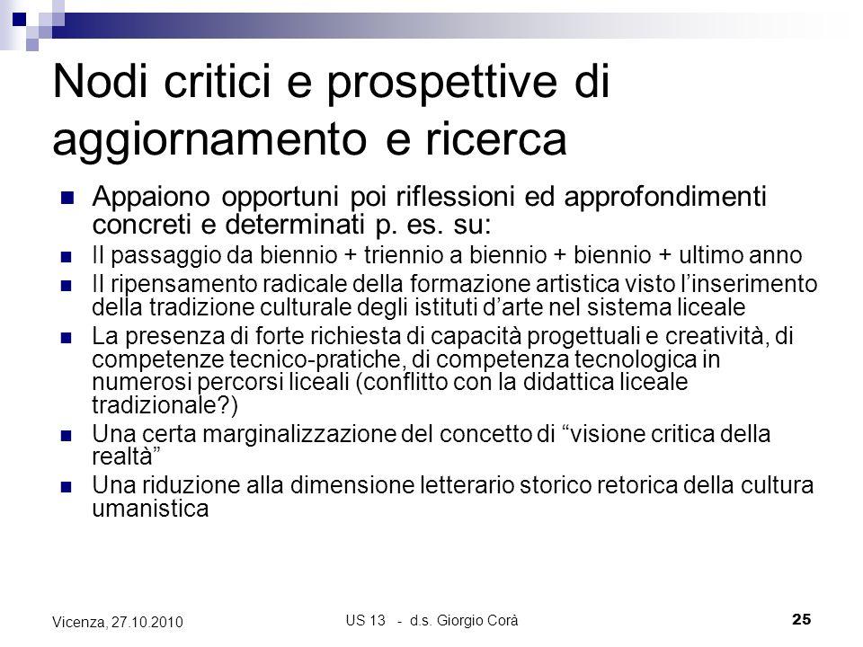 Nodi critici e prospettive di aggiornamento e ricerca