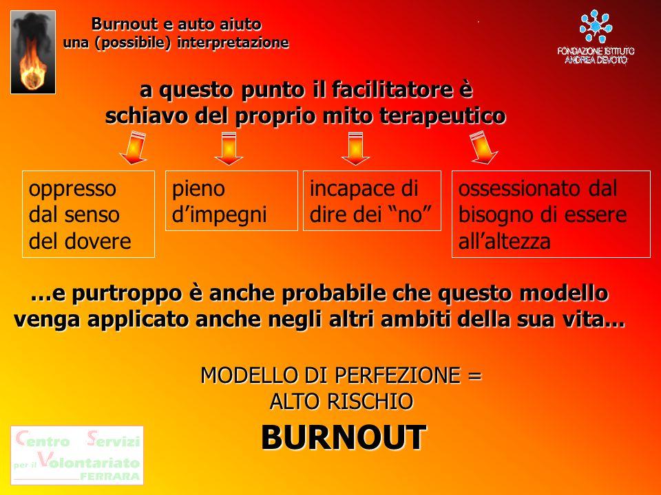 Burnout e auto aiuto una (possibile) interpretazione. a questo punto il facilitatore è schiavo del proprio mito terapeutico.