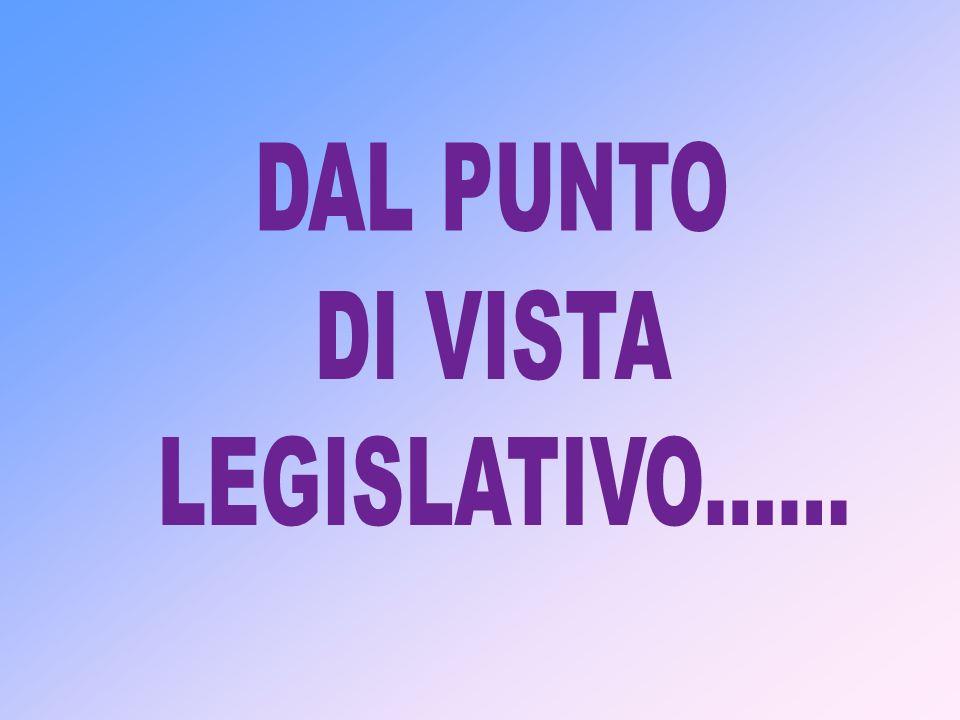 DAL PUNTO DI VISTA LEGISLATIVO......