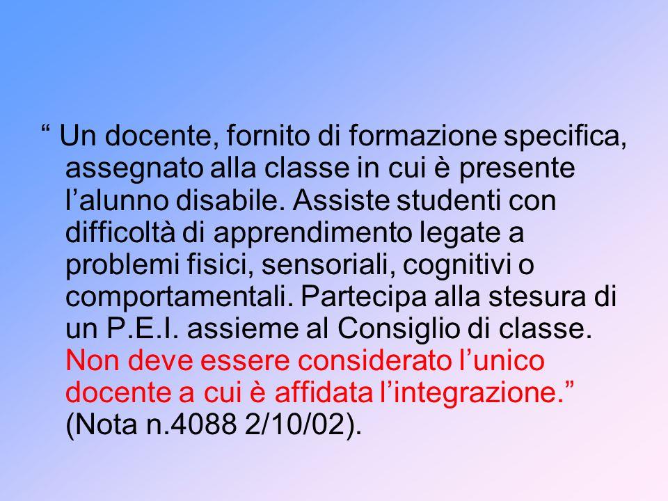 Un docente, fornito di formazione specifica, assegnato alla classe in cui è presente l'alunno disabile.
