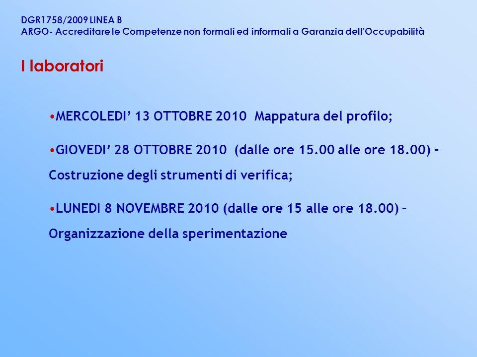 I laboratori MERCOLEDI' 13 OTTOBRE 2010 Mappatura del profilo;