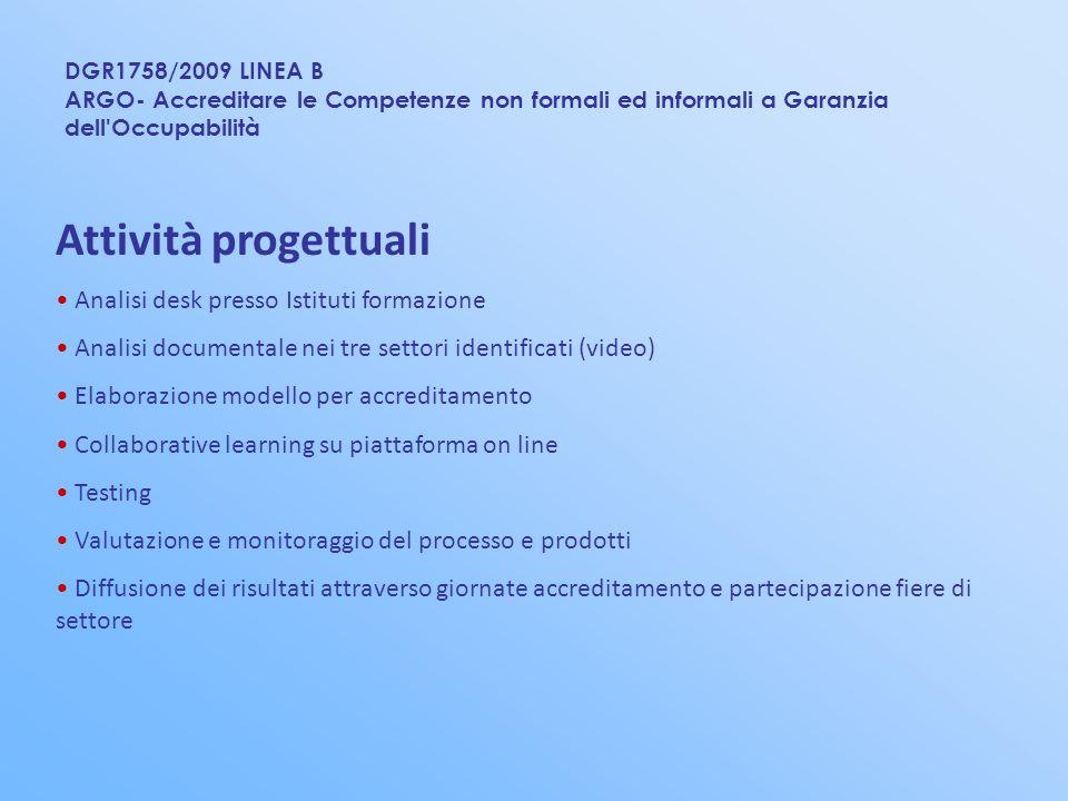 Attività progettuali Analisi desk presso Istituti formazione