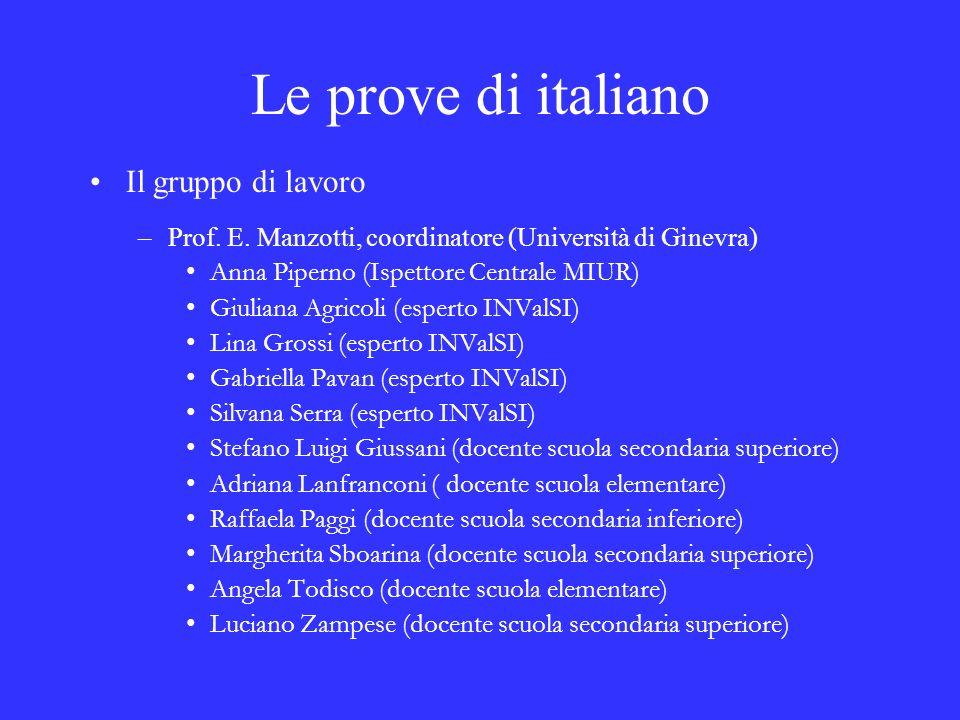 Le prove di italiano Il gruppo di lavoro