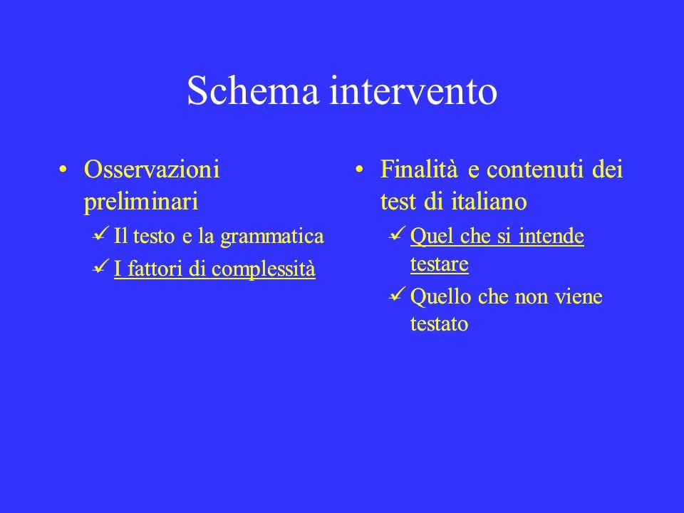 Schema intervento Osservazioni preliminari Osservazioni preliminari