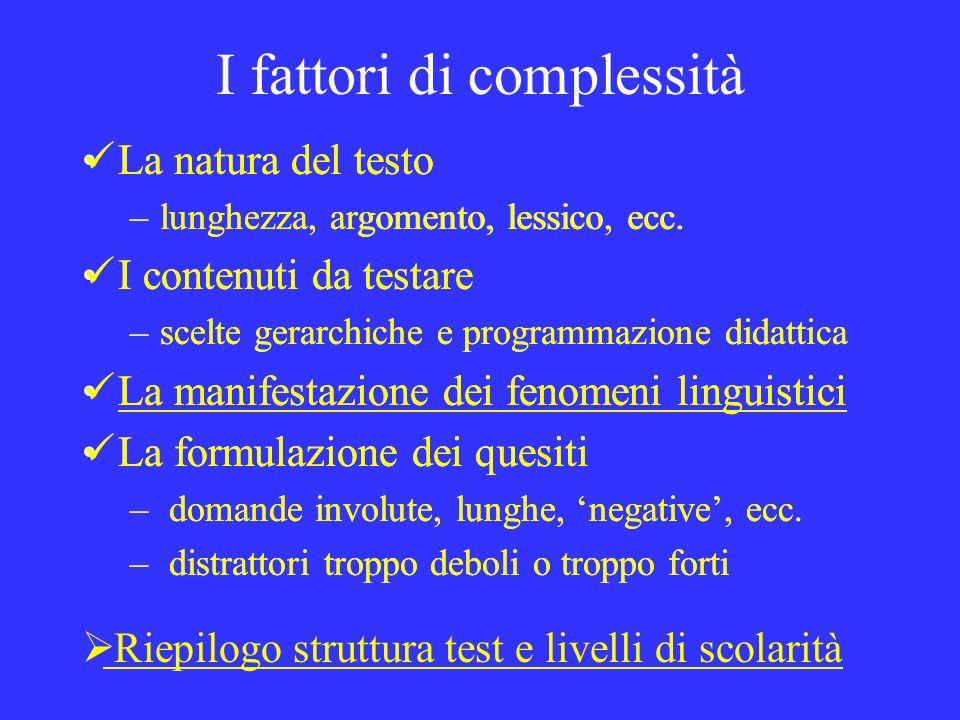 I fattori di complessità