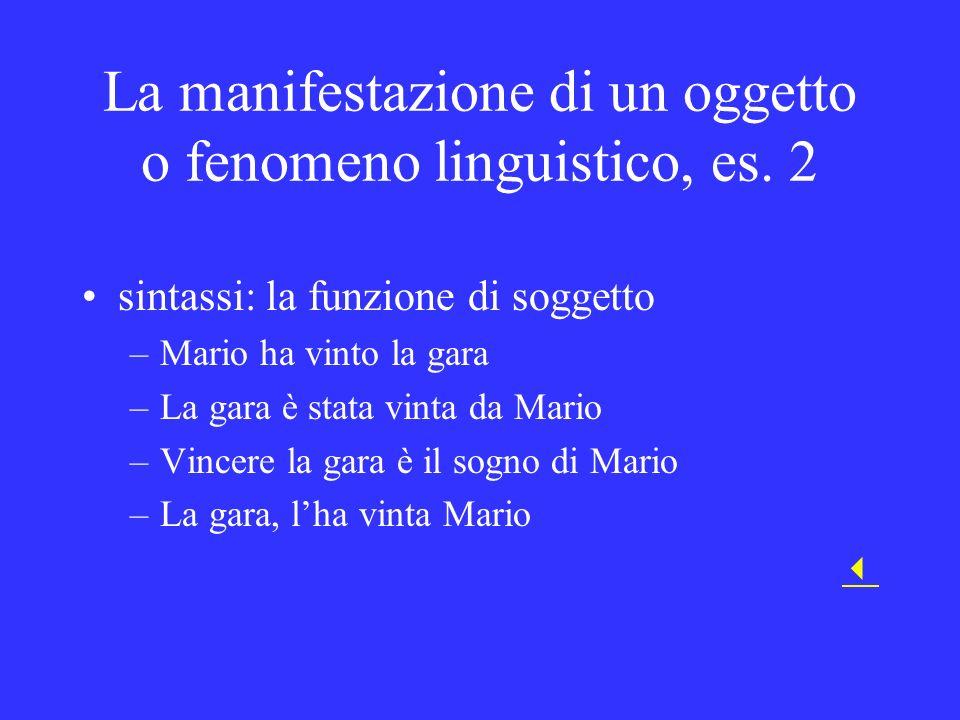 La manifestazione di un oggetto o fenomeno linguistico, es. 2