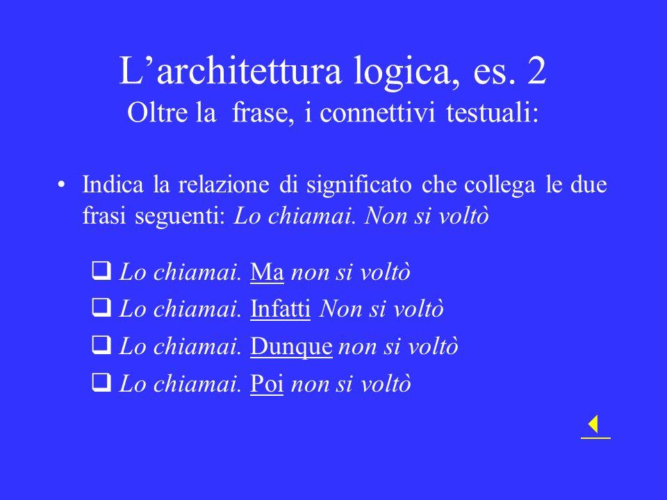L'architettura logica, es. 2 Oltre la frase, i connettivi testuali: