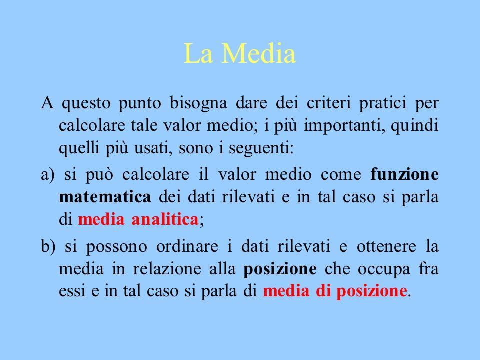 La Media A questo punto bisogna dare dei criteri pratici per calcolare tale valor medio; i più importanti, quindi quelli più usati, sono i seguenti: