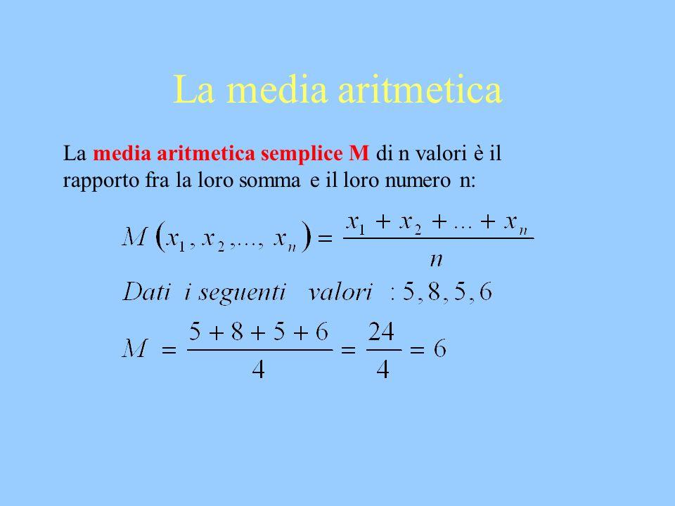 La media aritmetica La media aritmetica semplice M di n valori è il rapporto fra la loro somma e il loro numero n: