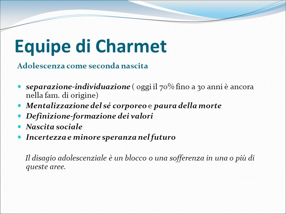 Equipe di Charmet Adolescenza come seconda nascita