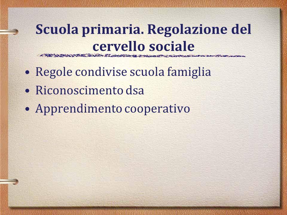 Scuola primaria. Regolazione del cervello sociale
