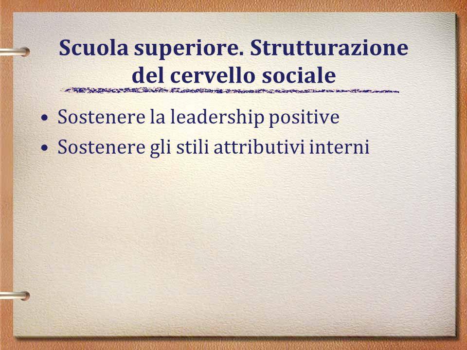 Scuola superiore. Strutturazione del cervello sociale