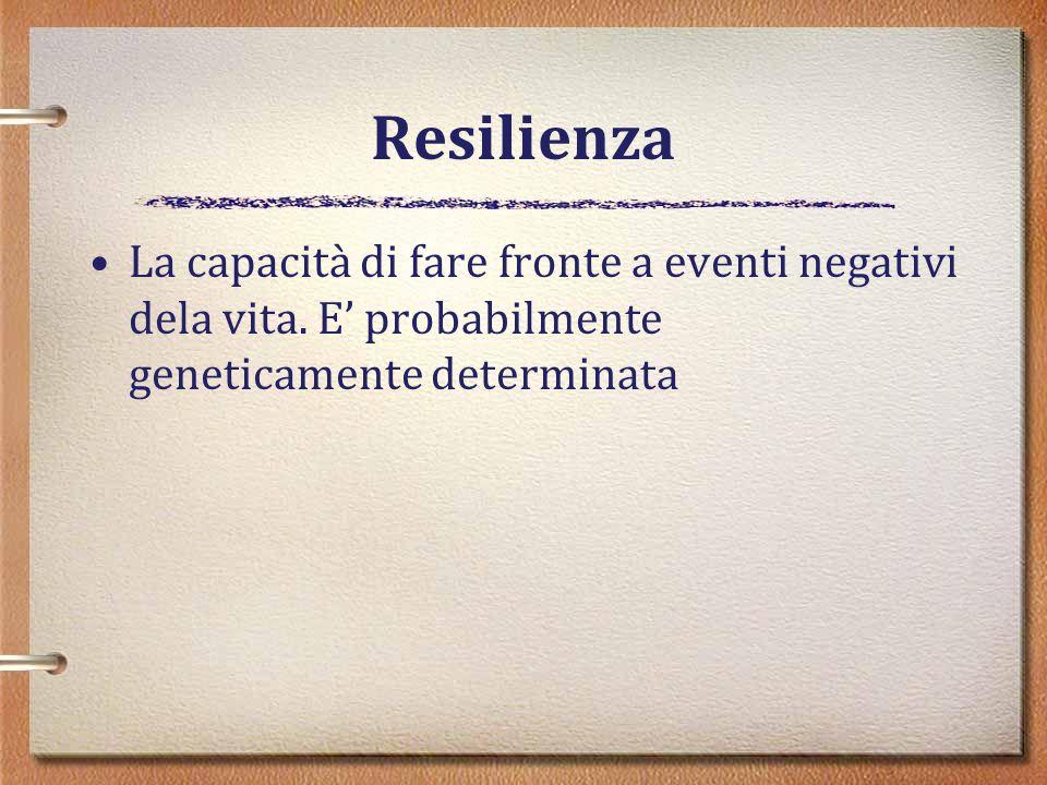 Resilienza La capacità di fare fronte a eventi negativi dela vita.