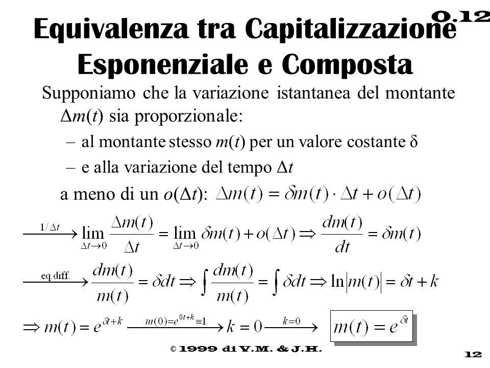 Equivalenza tra Capitalizzazione Esponenziale e Composta